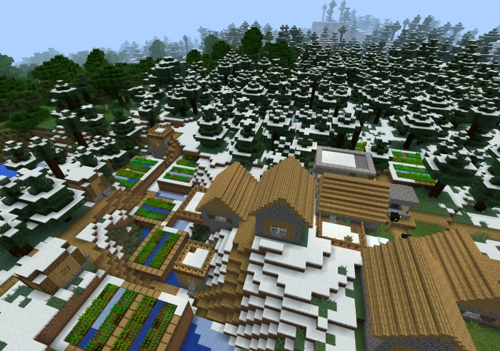 Сид снежная деревня для Minecraft PE 0.12.1