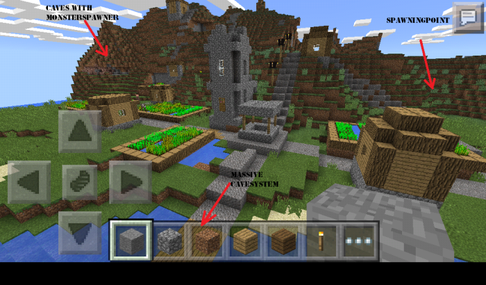 gebakken ei mountain village zombies minecraft pe seeds