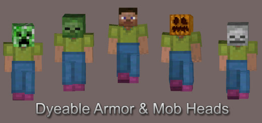 Dyeable Leather Armor & Mob Heads Mod