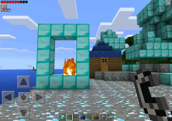 how to make a diamond portal in minecraft pe