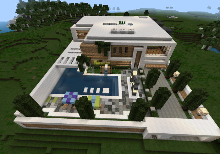 Casa moderna creation minecraft pe maps for Casa moderna y grande en minecraft