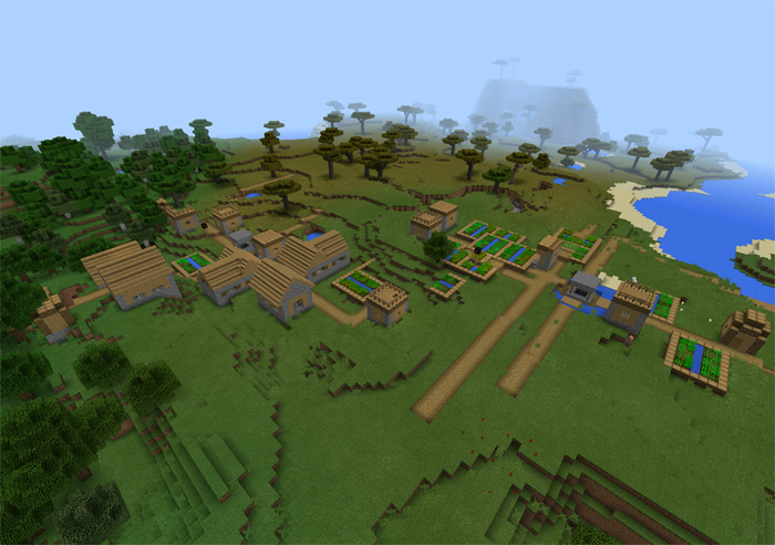 170 double village at spawn minecraft pe seeds