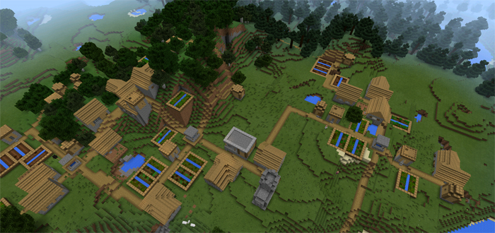 1235045255: Five Villages At Spawn | Minecraft PE Seeds