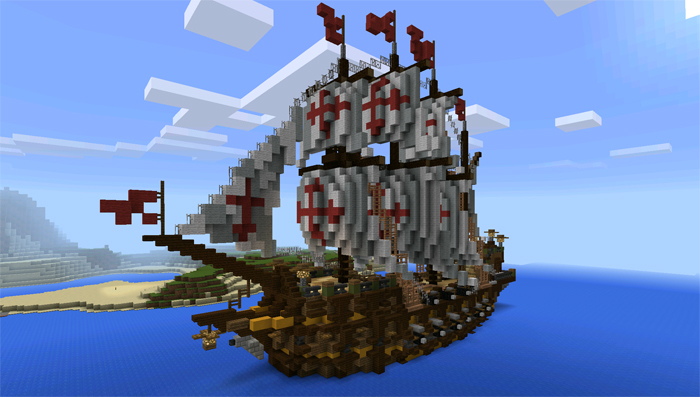 how to build a pirate ship in minecraft pe