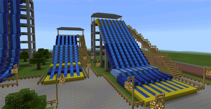 how to build a waterslide in minecraft pe