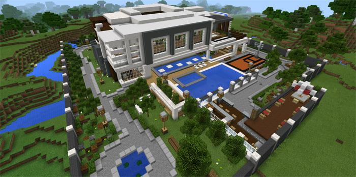 cool villa with wood minecraft