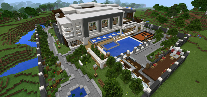 Modern mansion creation minecraft pe maps for Modern house minecraft pe