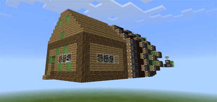 Smart Flying House [Redstone] | Minecraft PE Maps