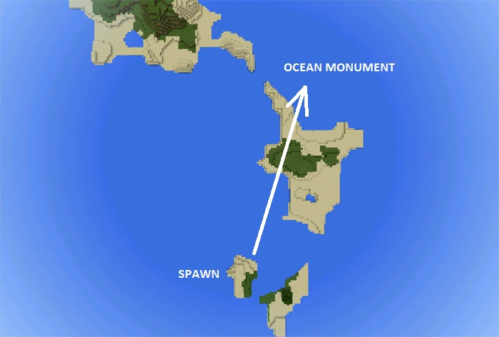 1849614853: Ocean Monument Close to Spawn | Minecraft PE Seeds