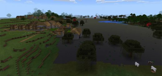 Swamp Biome & Two Villages At Spawn