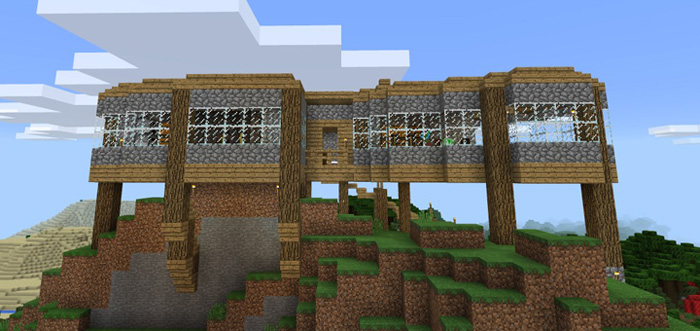 Hilltop House Survival World Creation Minecraft PE Maps - Cool minecraft houses survival