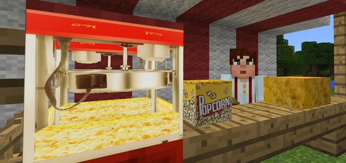 how to make a popcorn machine in minecraft pe