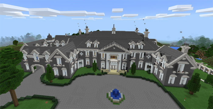 its one of the biggest mansions existing for pocket edition since it has 10 bedrooms and 17 bathrooms hopefully thats enough space for your and your