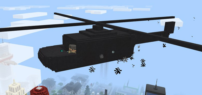 how to make a helicopter in minecraft pe