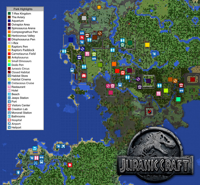 Jurassic craft world creation addon minecraft pe maps you get familiar with the map down below as it displays all of the locations in game h spawn you can view a full sized version of this map here publicscrutiny Image collections