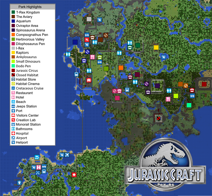 Jurassic Craft World Creation Addon – Jurassic World Map Minecraft 1 7 10