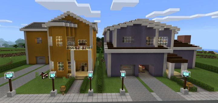 Redstone neighborhood redstone minecraft pe maps for Self garage nice