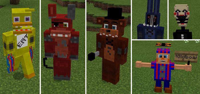 Five Nights At Freddys Addon Minecraft PE Mods Addons - Freddie skins fur minecraft