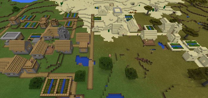 200889213: Double Village Spawn & Stronghold | Minecraft PE Seeds