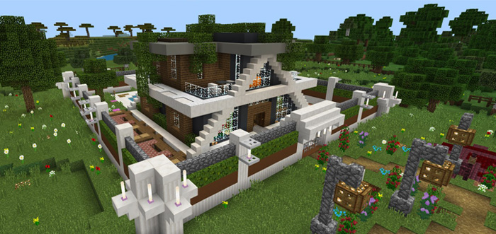 Rs Smart Modern House Super Ultra Redstone Minecraft Pe Maps