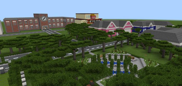 School And Neighborhood Creation Minecraft PE Maps - Coole maps fur minecraft 1 10 2