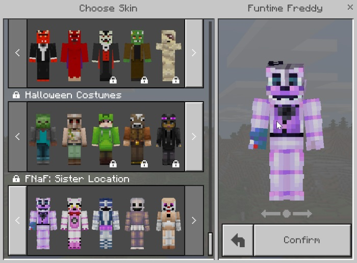 Five Nights At Freddys Sister Location Skin Pack Minecraft Skin - Skin para minecraft pe de freddy