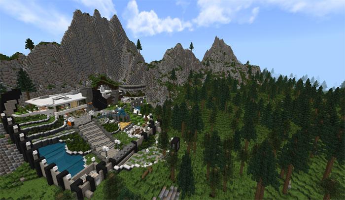 $24M Hillside Mansion [Creation] [Redstone] | Minecraft PE Maps