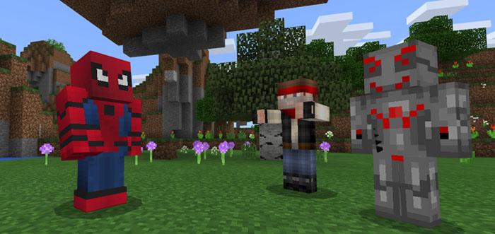SpiderMan Addon Minecraft PE Mods Addons - Skin para minecraft pe de hombre