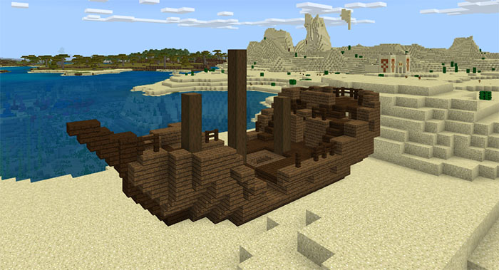 244885508: Shipwreck On Dry Land | Minecraft PE Seeds