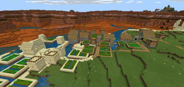 1526565007 Triple Village Fused To Mesa Mineshaft Seed Minecraft Pe Seeds