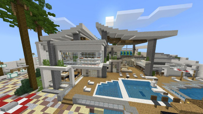 Modern Redstone Mansion Creation Redstone Minecraft Pe Maps
