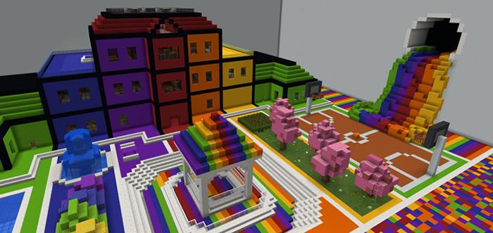 Rainbow Highschool [Creation] | Minecraft PE Maps