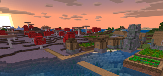 Zombie Village attached to Mushroom Biome at spawn!