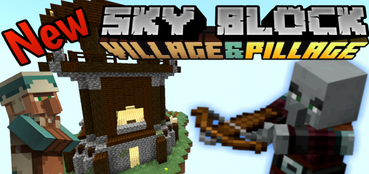 New SkyBlock Village&Pillage | Minecraft PE Maps