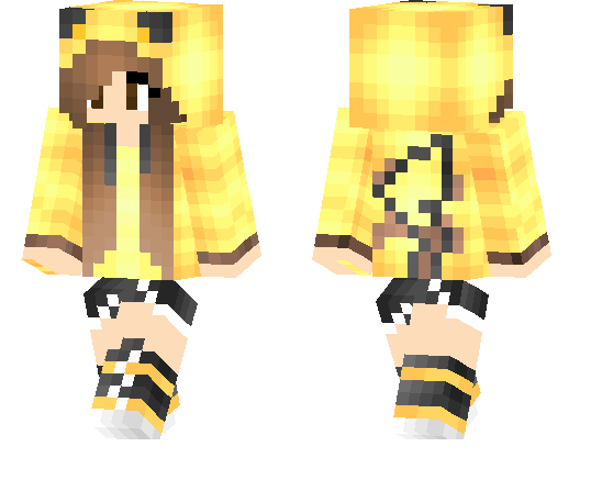 brown hair pikachu skin