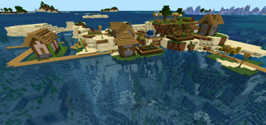 Spawn Near Island Village with Exposed Underwater Stronghold & More! (Seed)
