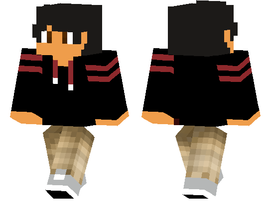 Black Hoodie With Red Stripes Boy Skin